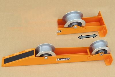 Cable-Drum Take-off Rollers can be quickly adapted to different drum diameters by changing the position of the rear rollers